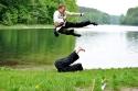 Meister Stefan und Michael beim Seitwärtsfußsprung