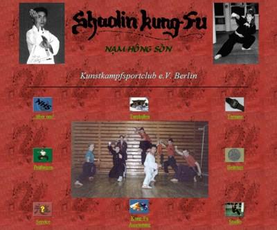 Erste Internetseite des Kunstkampfsport-Clubs im Jahr 1999