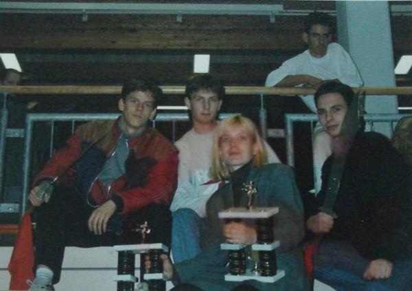 Wettkampf in Sindelfingen 1993 Sascha Nuß (links), Meisterin Ute Pham (vorne), Christoph Michael (rechts)
